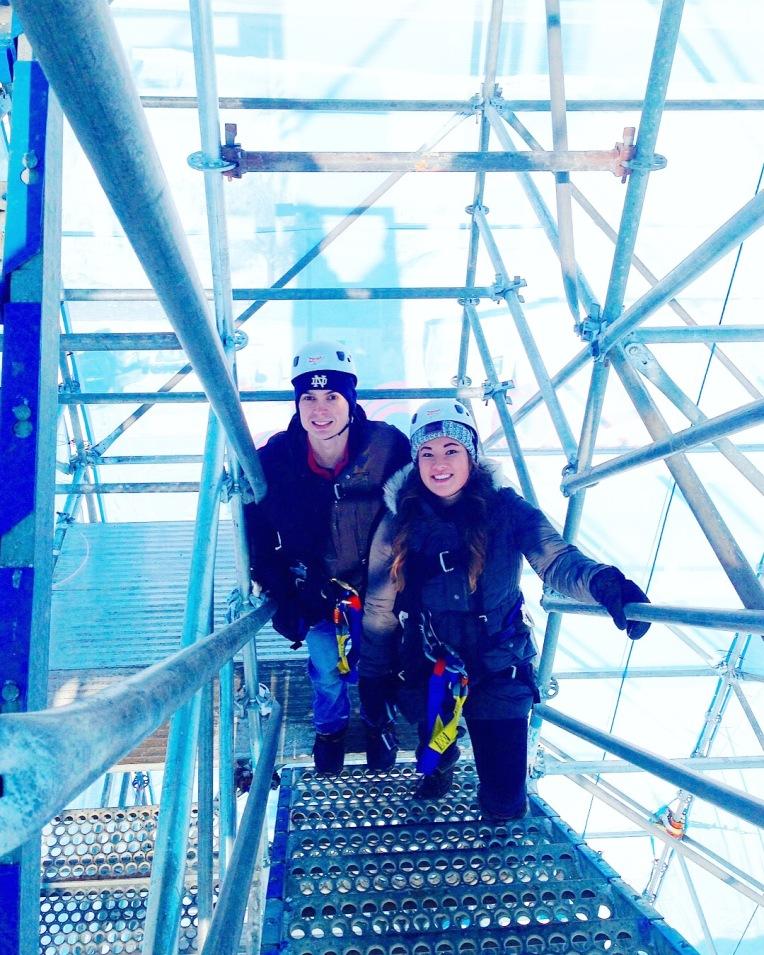 Climbing up the scaffolding!